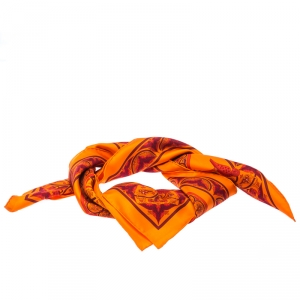 Hermes Orange Silk Carre Twill Ciels Byzantins Square Scarf