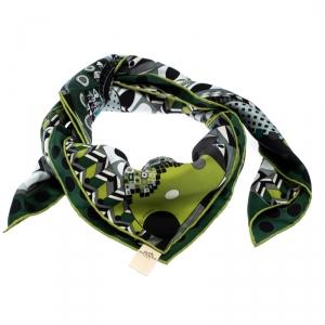 Hermes Green Les Ailes de la Soie Printed Silk Twill Square Scarf