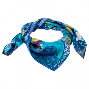 Hermes Blue Under the Waves Printed Silk Scarf