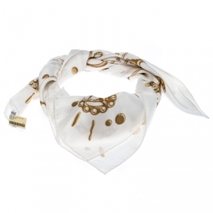 Hermes White Cheval Fusion Printed Silk Scarf