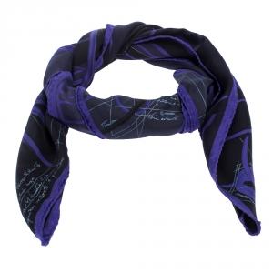 Hermes Purple & Black Petit Duc Print Silk Scarf