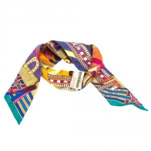 Hermès Multicolor Brides et Gris-Gris Silk Twilly Scarf