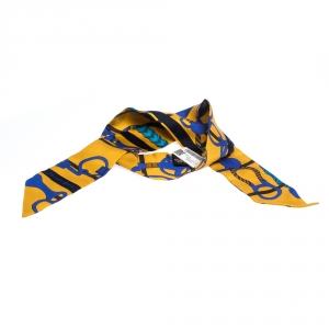 Hermes Yellow & Blue Panoplie Equestre Print Silk Twilly Scarf