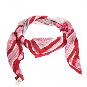 Hermes Pink & Red Couvertures Nouvelles Print Silk Scarf
