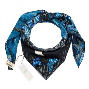Hermes Blue Jaguar Quetzal Silk Twill Square Scarf