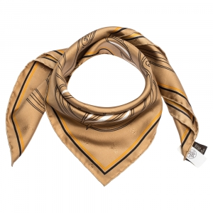Hermes Brown Quadrige Au Fil Silk Square Scarf