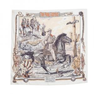 Hermes Blanc Vintage The Pony Express Print Silk Scarf