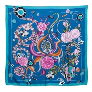 Bvlgari Blue Silk Bloom of Eden Print Scarf