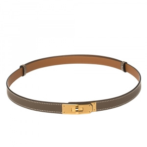 Hermes Taupe Grey Epsom Leather Gold Finish Hardware Kelly 18 Belt Adjustable