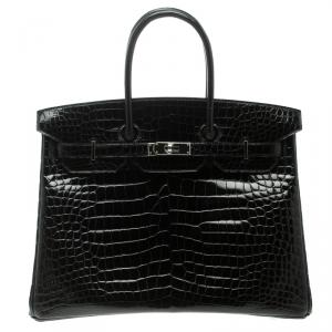 Hermes Black Porosus Crocodile Palladium Hardware Birkin 35 Bag