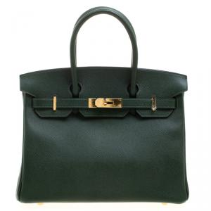 Hermes Dark Green Epsom Leather Gold Hardware Birkin 30 Bag