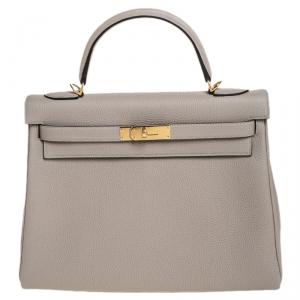 Hermes Gris Asphalt Togo Leather Gold Hardware Kelly Retourne 32 Bag