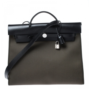 Hermes Khaki Green/Black Leather and Canvas Herbag Zip 39 Bag
