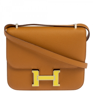 Hermes Natural Sable Evercolor Leather Mini Enamel Lacquer Hardware Constance Bag with Twilly