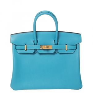 Hermes Ciel Swift Leather Gold Hardware Birkin 25 Bag