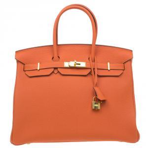 Hermes Orange Togo Leather Gold Hardware Birkin 35 Bag