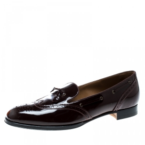 Hermes Burgundy Patent Leather Brogue Loafers Size 39