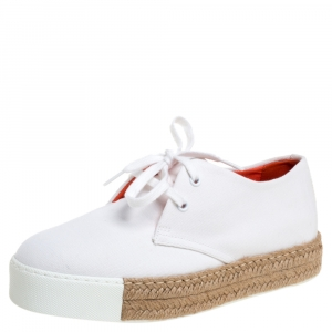 Hermes White Canvas Rosa Espadrille Sneakers Size 39