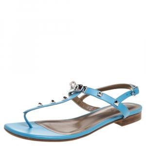 Hermes Blue Leather Olivia Ankle Strap Sandals Size 37.5