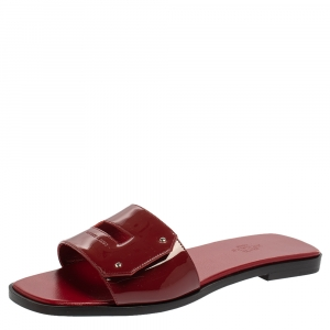 Hermes Burgundy Patent Leather View Flats Size 37