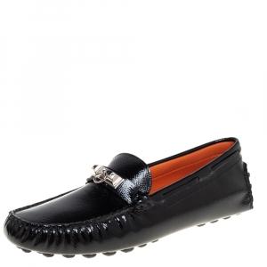 حذاء لوفرز هيرمس إرفينغ سليب أون جلد لامع أسود مقاس 37.5