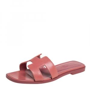 Hermes Pink Leather Oran Flat Slides Size 36.5