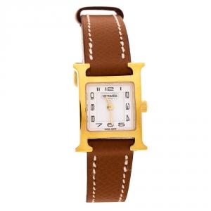 ساعة يد نسائية هيرمس هيوري H WHH1.101 ستانلس ستيل مطلي ذهب أصفر بيضاء 17.2 مم