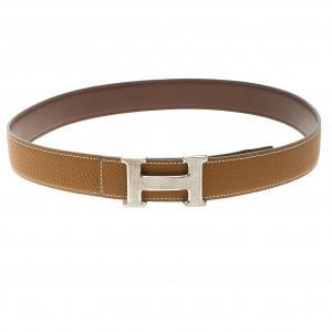 Hermes Brown/Dark Brown Leather H Buckle Reversible Belt 80CM
