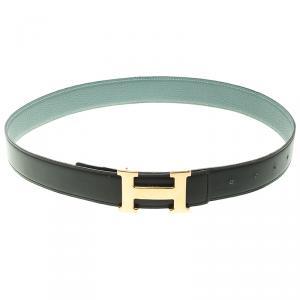 Hermes Black/Blue Leather H Buckle Reversible Belt 80CM