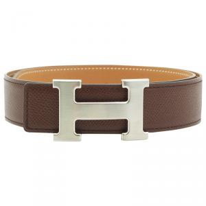 Hermes Brown and Tan Leather H Buckle Reversible Belt 65CM