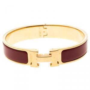Hermes Clic Clac H Narrow Red Enamel Gold Plated Bracelet PM