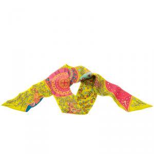 Hermes Multicolor Printed Silk L'Arbre De Vie Twilly Bandeau