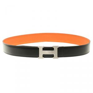 Hermes Black and Orange Leather H Buckle Reversible Belt 85cm