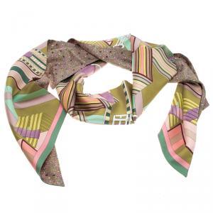 Hermes Multicolor Printed Silk Sangles en Zigzag Fleuries Maxi Twilly Scarf