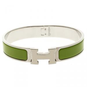 Hermes Clic Clac H Green Enamel & White Lacquered H Palladium Plated Narrow Bracelet GM