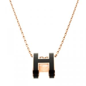 Hermes Pop H Soleil Black Lacquer Rose Gold Plated Pendant