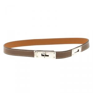 Hermes Kelly Brown Leather Palladium Plated Choker Necklace