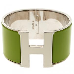 Hermes Clic Clac H White Lacquered Green Enamel Palladium Plated Extra Wide Bracelet GM