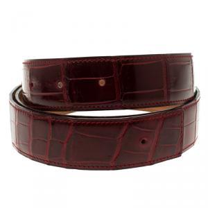 حزام هيرمس بورسوس جلد تمساح أحمر 95 سم