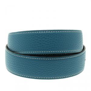 حمالة حزام هيرمس ريفيرسيبل جلد أسود وأزرق 85 سم