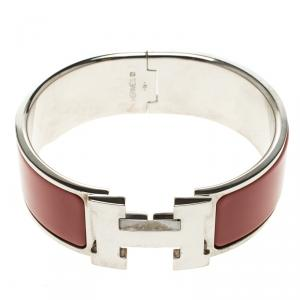 Hermes Clic Clac H Red Enamel Palladium Plated Wide Bracelet PM