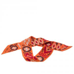 Hermes Orange Kelly en Perles Silk Twilly Scarf