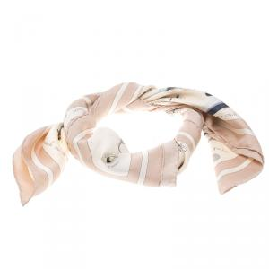 Hermes Beige Raconte Moi Le Cheval Printed Silk Square Scarf