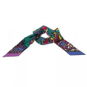 Hermes Millefleurs du Mexique Printed Silk Twilly Scarf