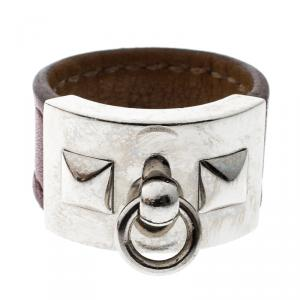 Hermes Collier de Chien Burgundy Leather Palladium Plated Ring  Size 58