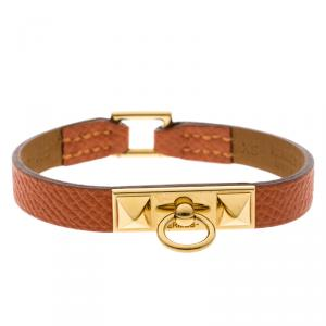 Hermes Micro Rivale Orange Leather Gold Plated Bracelet
