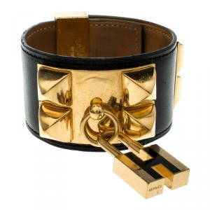 Hermès Collier de Chien Lock Black Leather Gold Plated Wide Cuff Bracelet