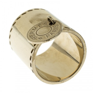 Hermes Gold Tone Scarf Ring