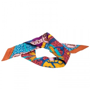 Hermes Multicolor Printed Silk Twilly Scarf