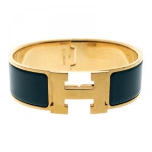 Hermes Clic Clac H Blue Enamel Gold Plated Wide Bracelet GM